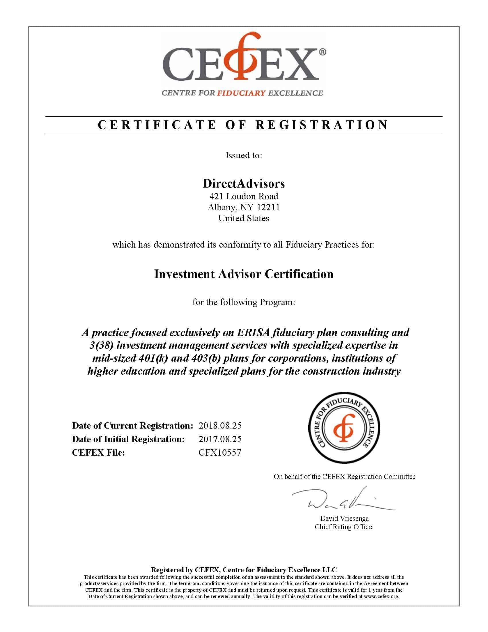 CEFEX Certificate Renewal